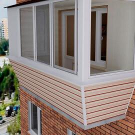 Сайдинг в отделке балкона с выносом подоконника